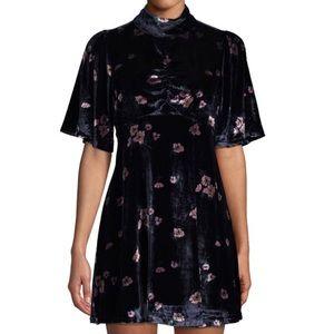 NWT: FREE PEOPLE | Navy velvet floral dress